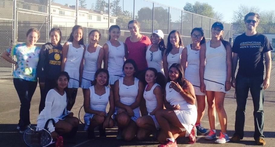 Girls 2014 Tennis team with coach Mr. McGauley