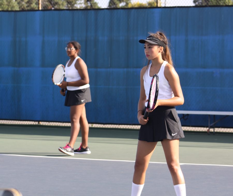Alyse+Cunningham+%289%29+%26+Yesenia+Fernandez+%2810%29+play+doubles+for+BCCHS