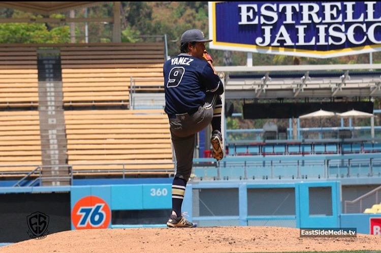 Senior Armando Yanez is pitching on the mound during the L.A. City Championship, at Dodger Stadium on June 3, 2017.