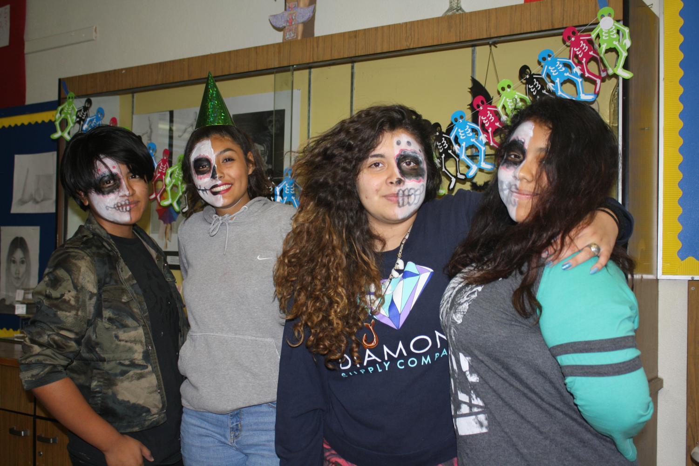 Xiomara Henriquez(12), Jazzmine Murrietta (10), Iris Munoz(11),and Melissa Chairez(12) enjoying Culinary Club and Animation Club's Movie Night Activities