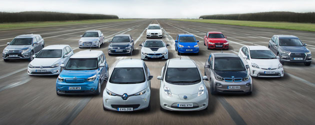 An assortment of the electric vehicles available to consumers in 2018.