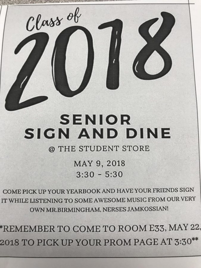 Class of 2018 Yearbook Sign and Dine