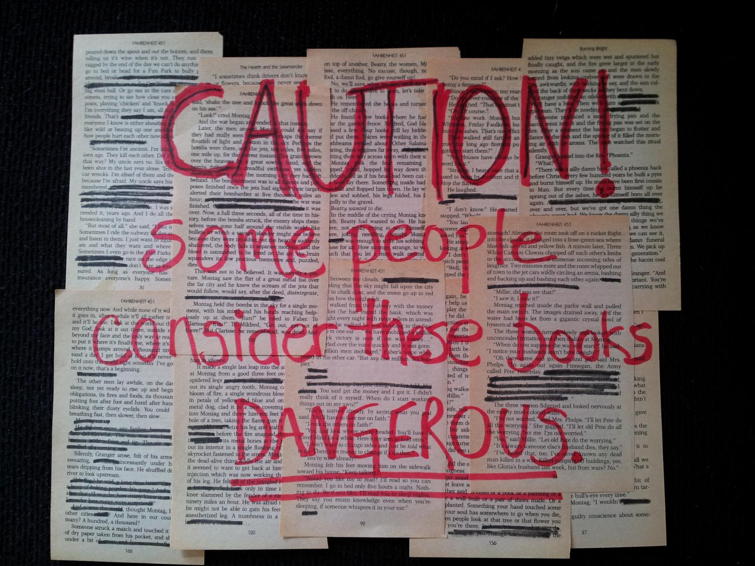 A display for Banned Books Week made with a copy of Fahrenheit 451.