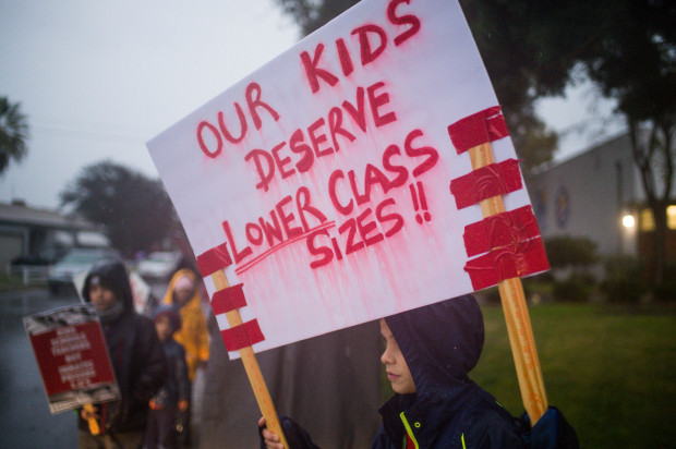 Fourth grader out on strike in the rain