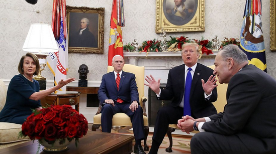 Nancy Pelosi, Mike Pence, Donald Trump and Chuck Schumer at the Oval Office