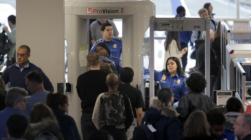 Security checkpoint at Newark Liberty International Airport in Newark, N.J.,