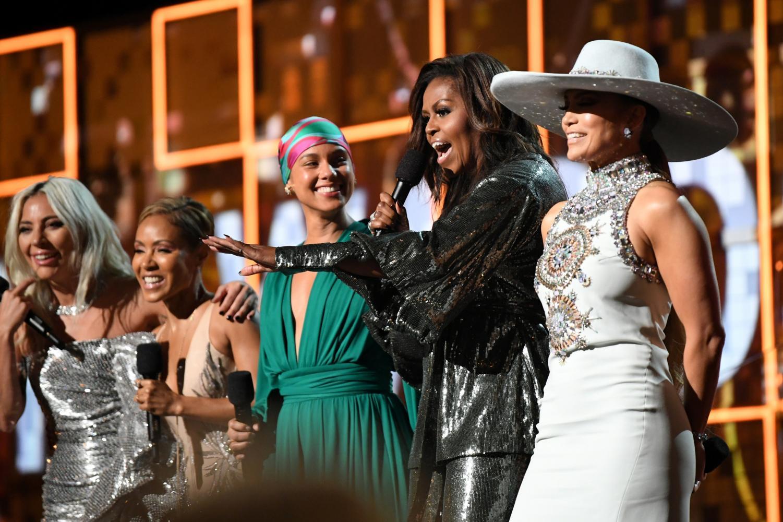 Lady Gaga, Jada Pinkett Smith, Alicia Keys. Michelle Obama and Jenifer Lopez opening the show