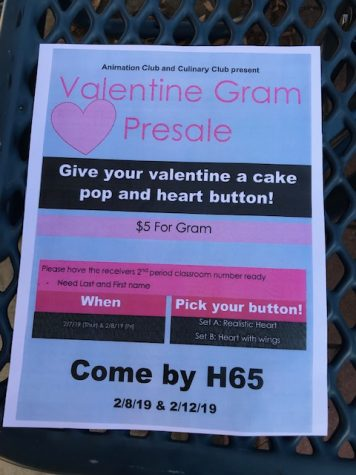 Animation and Culinary Clubs Present Valentine Gram Sale