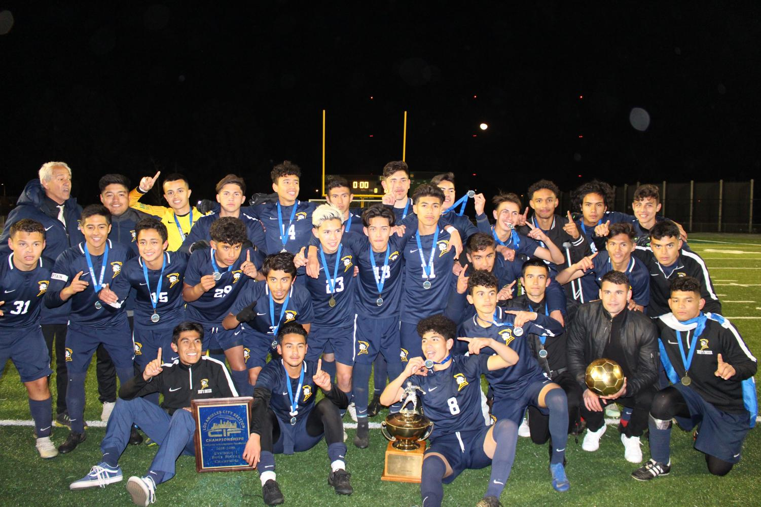 The BCCHS Soccer Team after winning the 2019 City Championship.