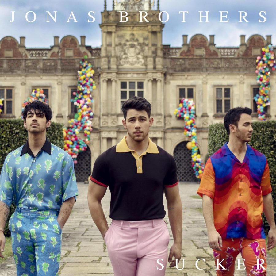 The+promotional+cover+of+the+Jonas+Brothers%27+comeback+single%2C+%22Sucker.%22+It+also+serves+as+their+first+photograph+as+a+band+since+2013.