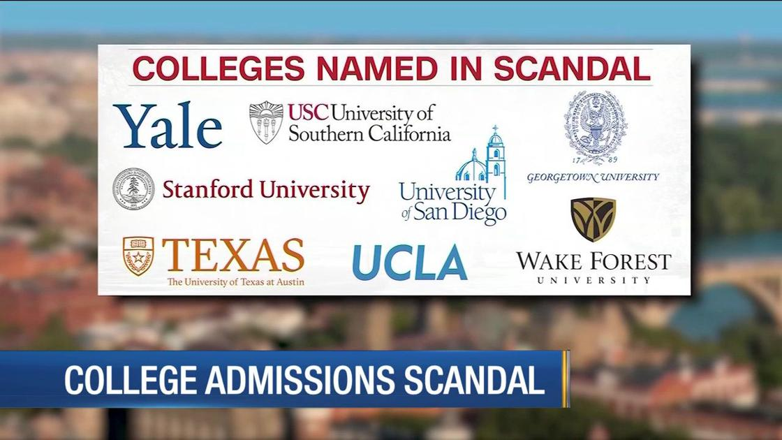 A news report featured some of the elite universities that were affiliated with the college admissions scandal.
