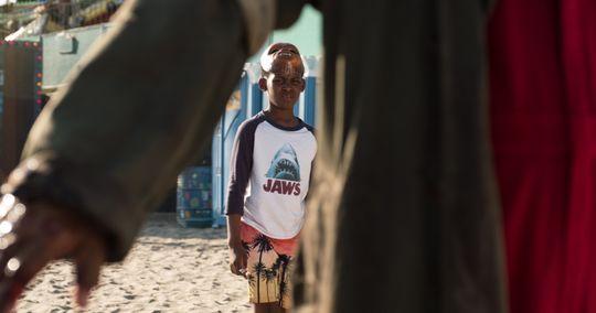 Jason wearing a Jaws movie series t-shirt.