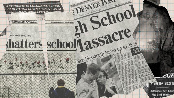 Pieces of newspaper headlines