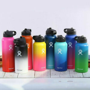 Colorful hydro flasks on display