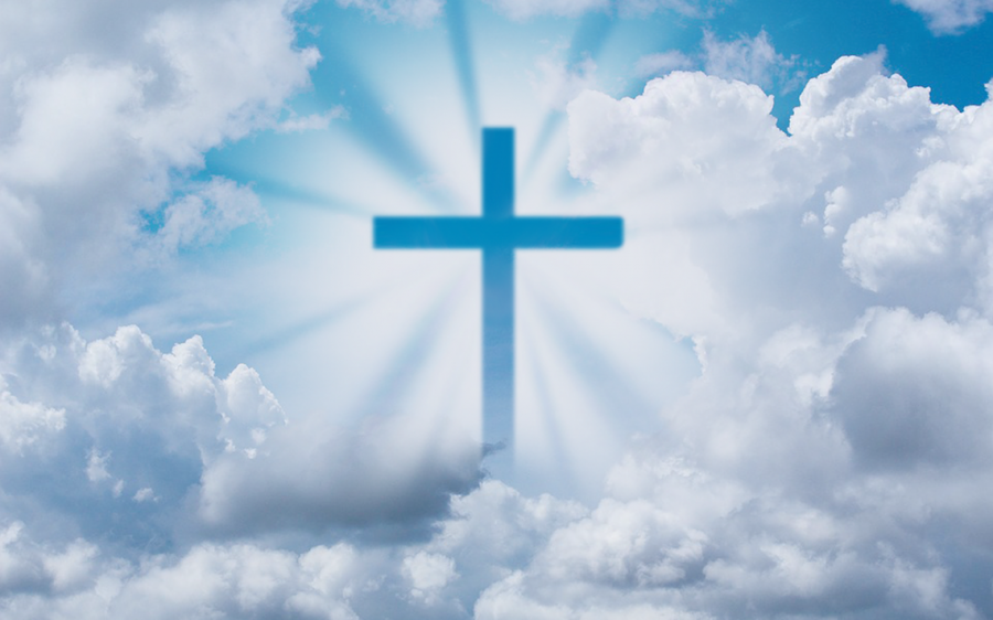 A shining Christian cross in the heavens