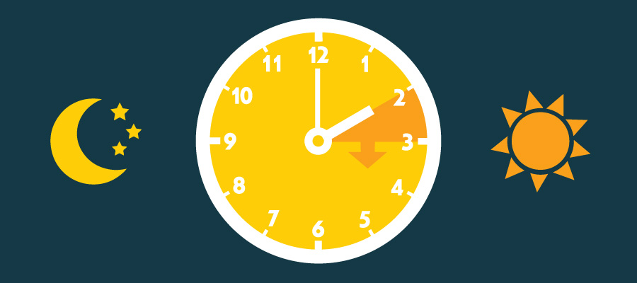 Colorful animation somewhat warmly depicting daylight savings time.