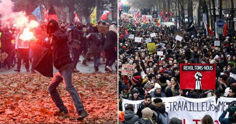 Thousands of protesters in France are against pension reform.