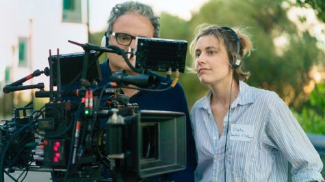Greta Gerwig behind the scenes of