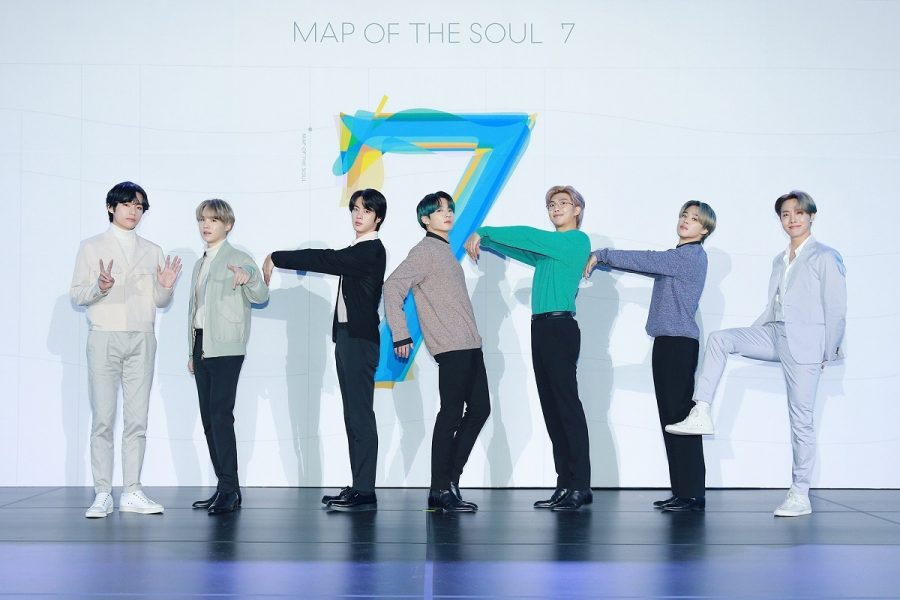 BTS posing for 7 for their album Map of Soul: 7