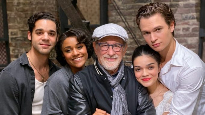 Steven Spielberg and stars of the 'West Side Story' remake. David Alvarez (far left), Ariana DeBose (left), Steven Spielberg (middle), Rachel Zegler (right), and Ansel ELgort (far right).