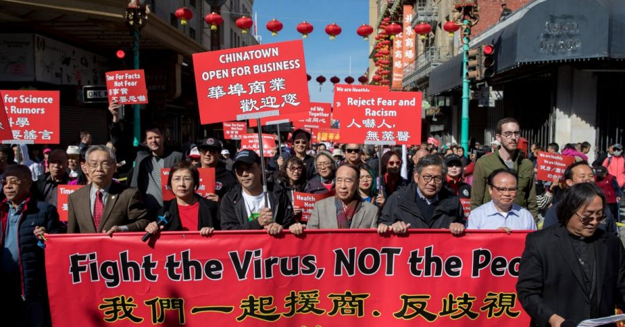 Hundreds of Chinatown residents protesting against racism toward the Chinese community in San Francisco, California.
