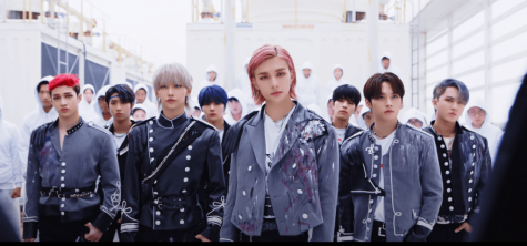 A screen capture of Stray Kids during their first teaser video that was released prior to their comeback.