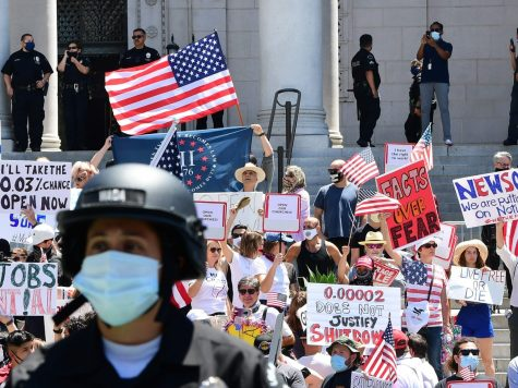 Demonstrators protesting in front of Los Angeles City Hall in May 2020 to demand an end to California's shutdown.