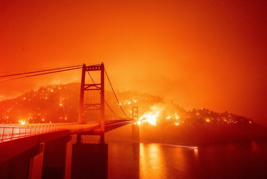 California wildfire burning near the Golden Gate Bridge in San Francisco.