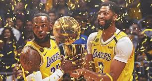 LeBron James and Anthony Davis celebrate the Lakers