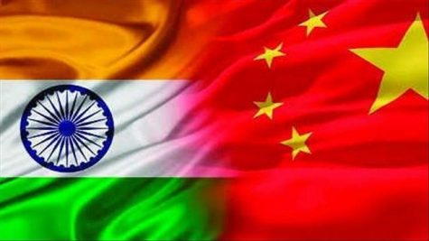 The Indian flag and the Chinese flag side by side