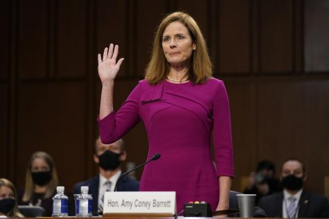 Newly appointed Justice Amy Coney Barrett pledging at her confirmation hearing.