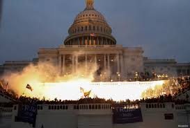 The Capitol Building during the deadly riot on January 6, 2021.