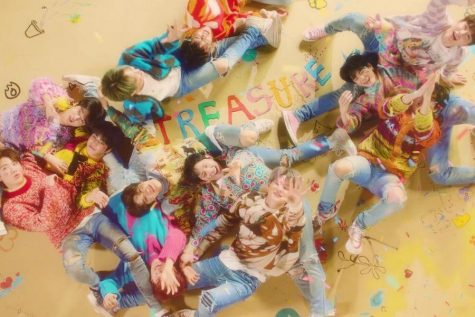"Picture shows Treasure members in their most recent released music video ""My Treasure"""