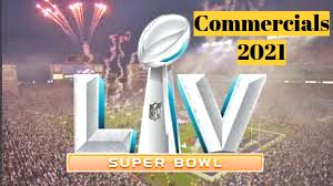 This image shows the super bowl logo. With 2021 commercials next to it.