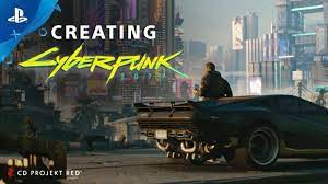 This image shows futuristic cover art for Cyberpunk 2077 on PlayStation 4.