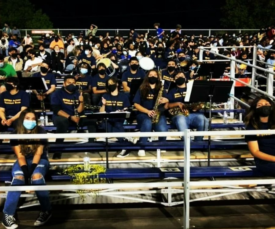 The marching band at their first home football game of the 2021 season.